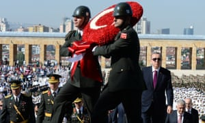 'We are the people. Who are you?' Recep Tayyip Erdogan, on the right, at the mausoleum of Mustafa Kemal Ataturk on 30 August – Victory Day.