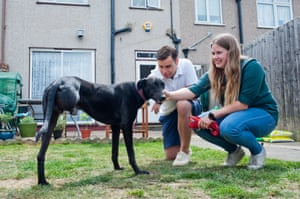 Suzie Vlaeminke, Conor Monk and Skippy the lurcher