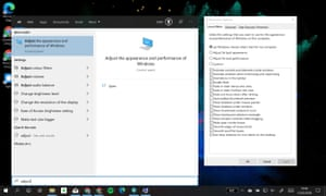 Type 'adjust' into the start menu to find performance options.