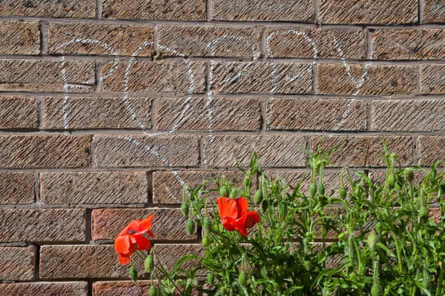 The presence of a poppy is highlighted by a London chalker.
