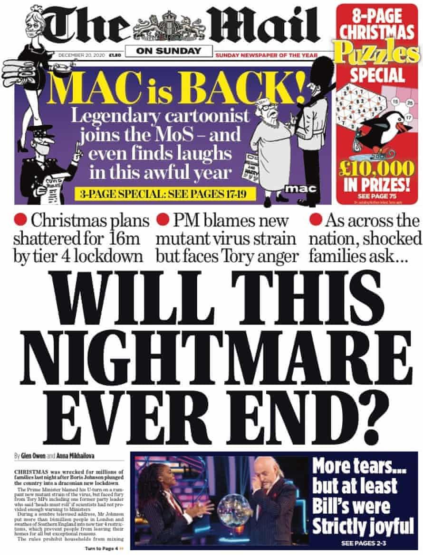 Mail on Sunday, 20 December 2020