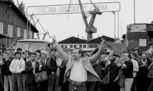 Former Solidarity leader Lech Wałęsa at the Gdańsk shipyard, 1983. Wałęsa has said he is 'not convinced' by the current mayor's outlook on refugees.