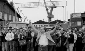 Solidarity leader Lech Walesa leaving the shipyard in Gdansk where he works, 16 June 1983.