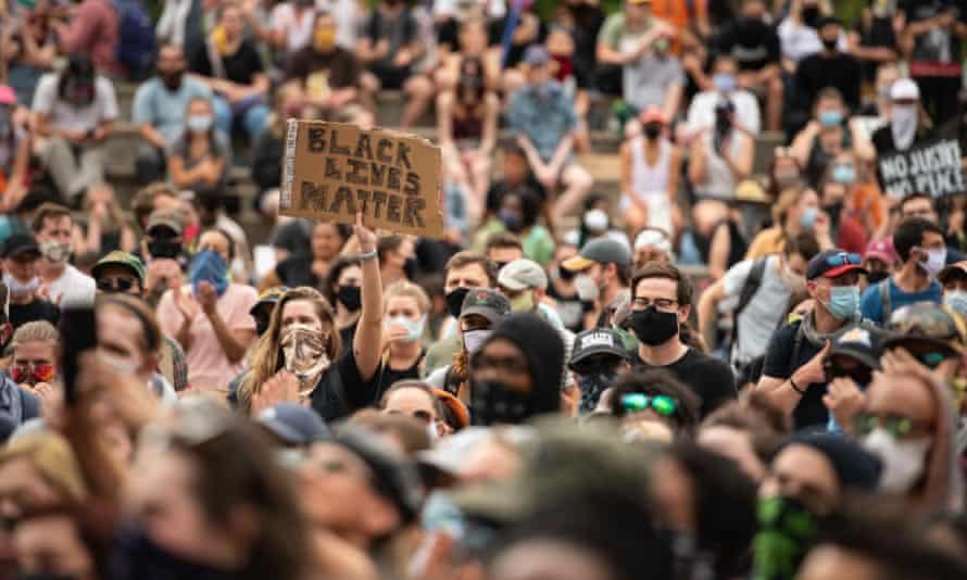 A protest in Denver, Colorado, on 31 May.