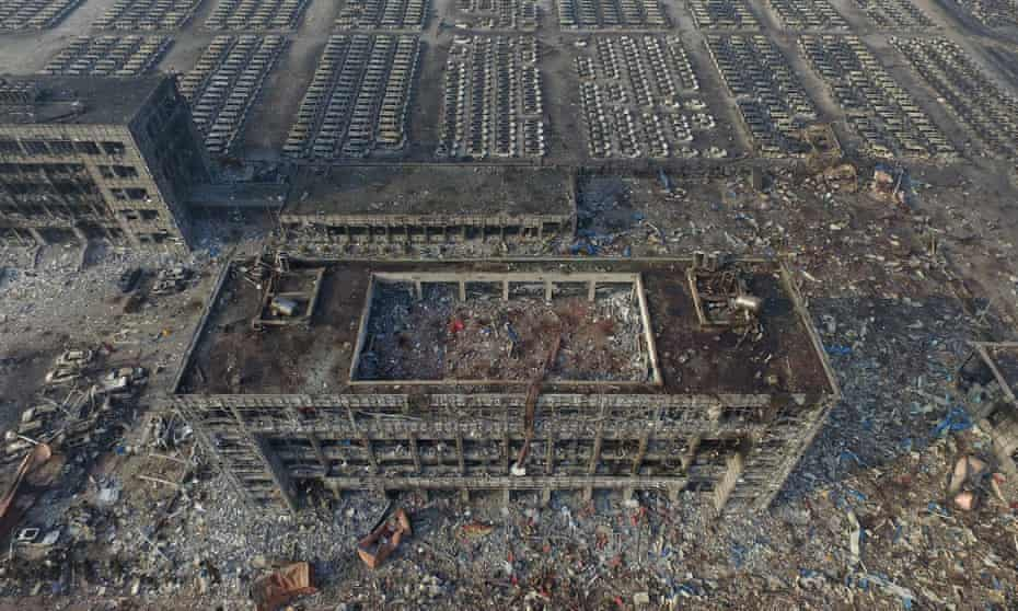 The aftermath of the Tianjin warehouse explosion, which killed 173 people.