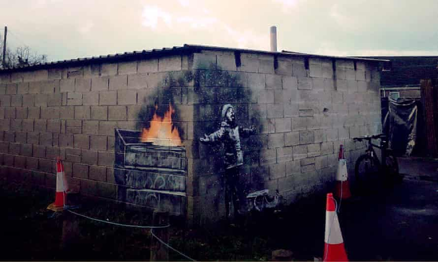 Banksy's Season's Greeting mural on the side of a Port Talbot garage