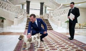 Turkmen president Gurbanguly Berdymukhamedov presents Russian prime minister Dmitry Medvedev with a Turkmen shepherd dog during a meeting in Ashgabat in May.