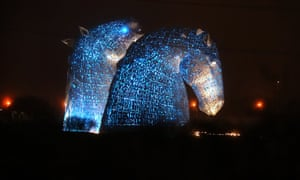 The Kelpies in Falkirk are lit up in blue