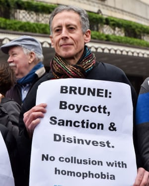 Peter Tatchell outside the Dorchester in London