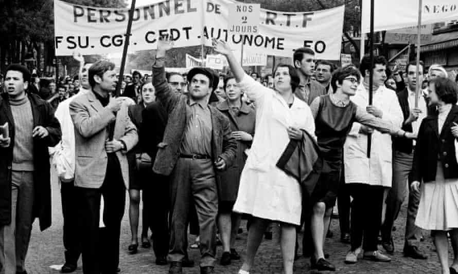 French strikers demonstrating in Paris in 1968.