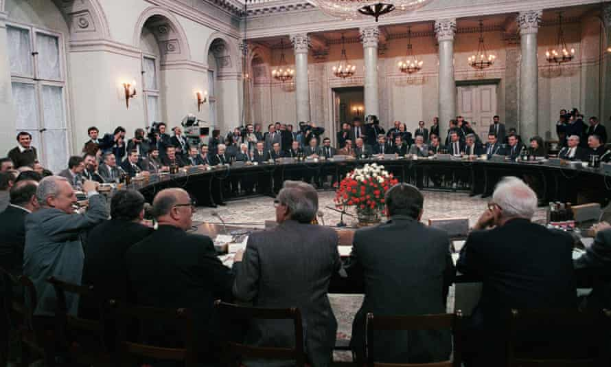 Talks between the communist Polish government and the opposition in Warsaw, February 1989.