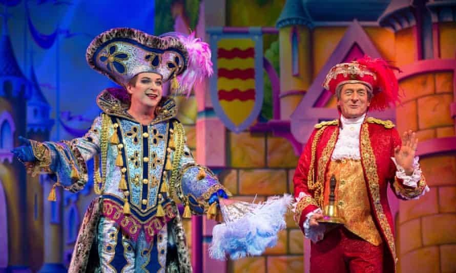Julian Clary (Dandini) and Nigel Havers (Lord Chamberlain) in Cinderella at the London Palladium