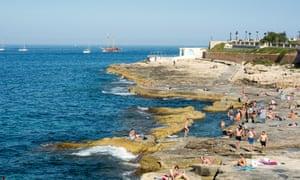 Bathing pools cut into the rocks in Sliema