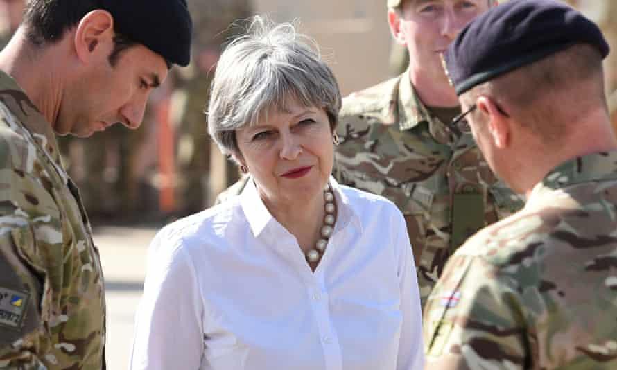 Theresa May meets British troops training Iraqi security forces at Camp Taji near Baghdad