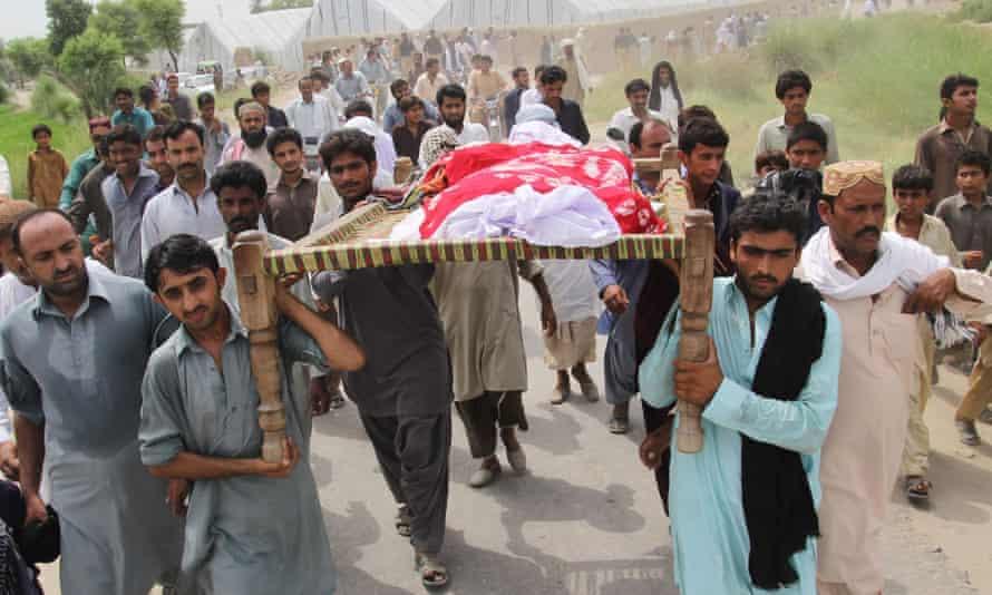 The funeral of Qandeel Baloch, held in Shah Sadar Din village in Pakistan's Punjab province