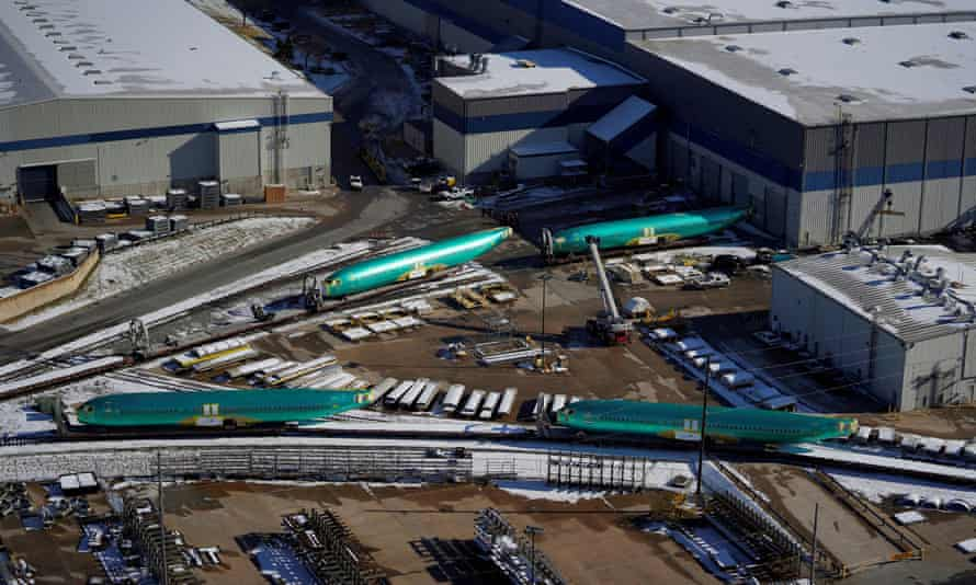 Airplane fuselages bound for Being's 737 Max production facility await shipment at their top supplier, Spirit AeroSystems, in Wichita, Kansas, on 17 December 2019.