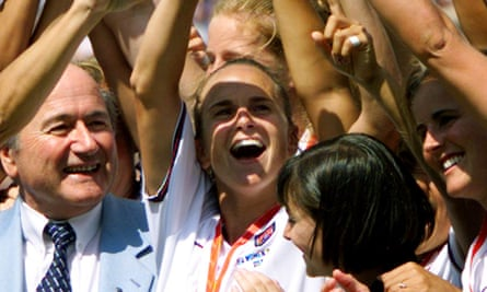 Cindy Parlow Cone, shown centre in 1999, becomes the first female president of US soccer.