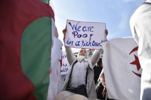 Algiers, Algeria Teachers and students continue to demonstrate against the country's long-standing president