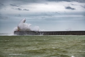 Large waves at Newhaven Harbour in East Sussex