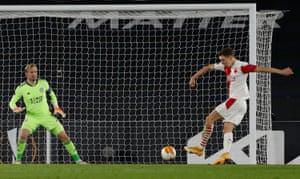 Lukas Provo puts Slavia Prague ahead.