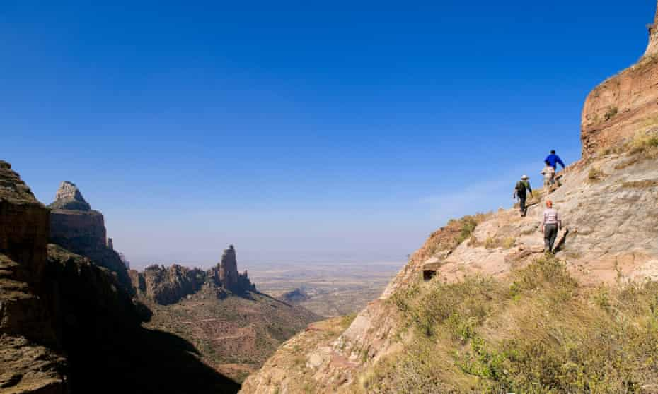 Hikers in Ethiopia's Tigray mountains