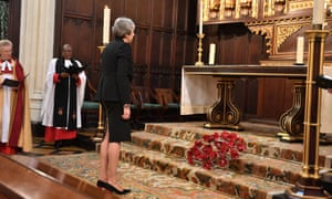 Theresa May laying a wreath this afternoon during the Service of Remembrance for MPs and peers in St Margaret's church in Westminster, London, to remember the sacrifices of parliamentarians, parliamentary officers and staff who gave their lives during the First World War.