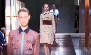 Models on the catwalk showcase the Burberry collection at London fashion week.