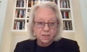 Kathe Sackler testifies by video during a virtual hearing of the US House oversight committee.