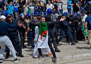 Algiers, Algeria A protester gestures during an anti-government demonstration outside the main post office in the centre of the capital