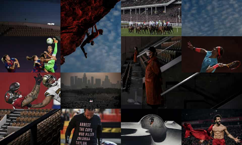 Ewa Pajor, Lewis Hamilton, Angie Scarth-Johnson, Mohamed Salah and Rafael Nadal in 2020's best photographs. Composite: Jim Powell