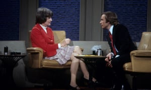 Jan Morris being interviewed about gender reassignment on The Dick Cavett Show in 1974; two years earlier she had undergone surgery in Casablanca, changing her name from James to Jan.
