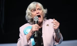 Ann Widdecombe speaks during a Brexit party rally in Durham.