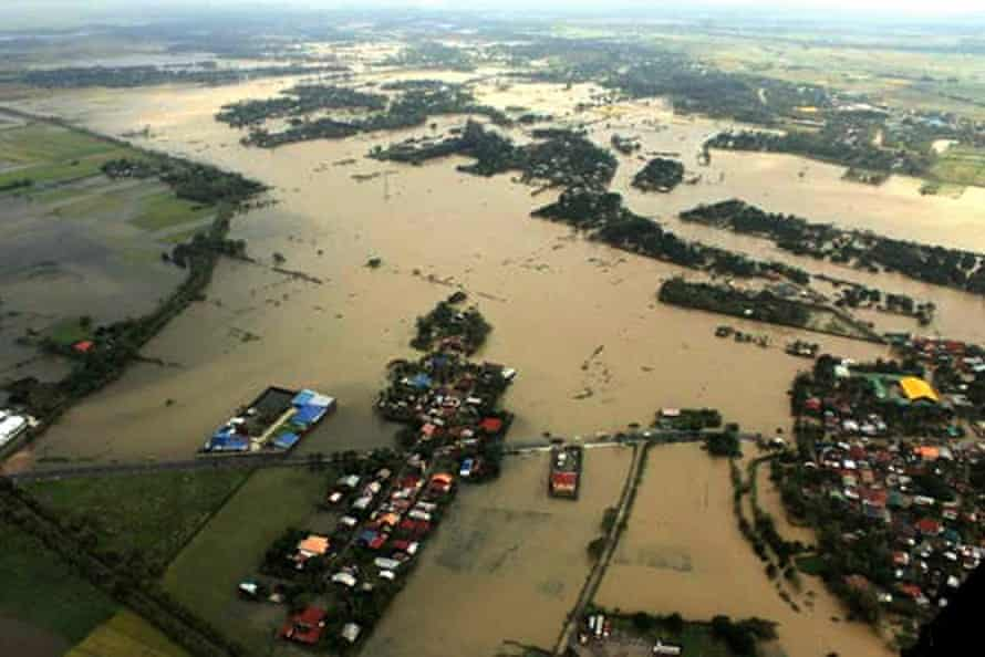 A picture provided by the Philippine airforce shows the flooded municipality of Camiling, in Tarlac province.
