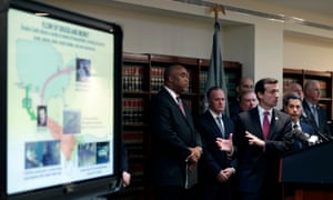 Prosecutors present their case against Joaquín Guzmán to reporters during a news conference in US federal court in Brooklyn, New York, on Friday.