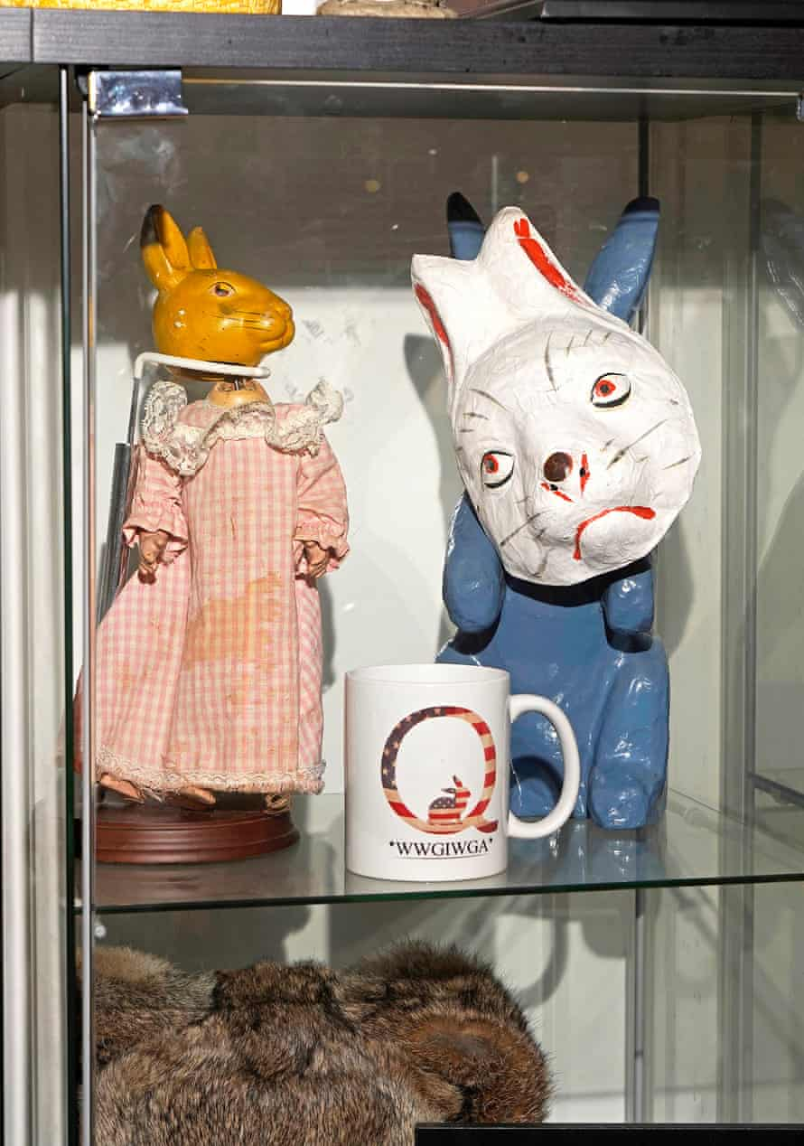 A mug of QAnon in the Hops Chamber of Horrors exhibit.