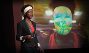 Joy Buolamwini gives her TED talk on the bias of algorithms
