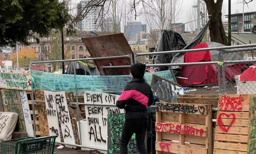 A homeless camp iin Seattle on 16 December 2020.