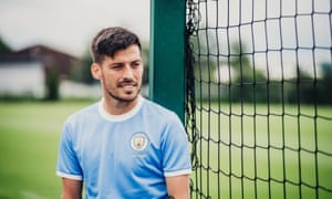 David Silva wearing the Manchester City 125th year anniversary kit ahead of the Community Shield against Liverpool.