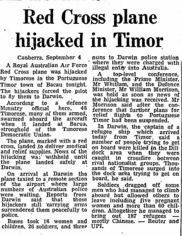 How the Guardian reported on the hijacking in September 1975.