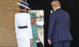 The Queen smiles as she welcomes the Trumps