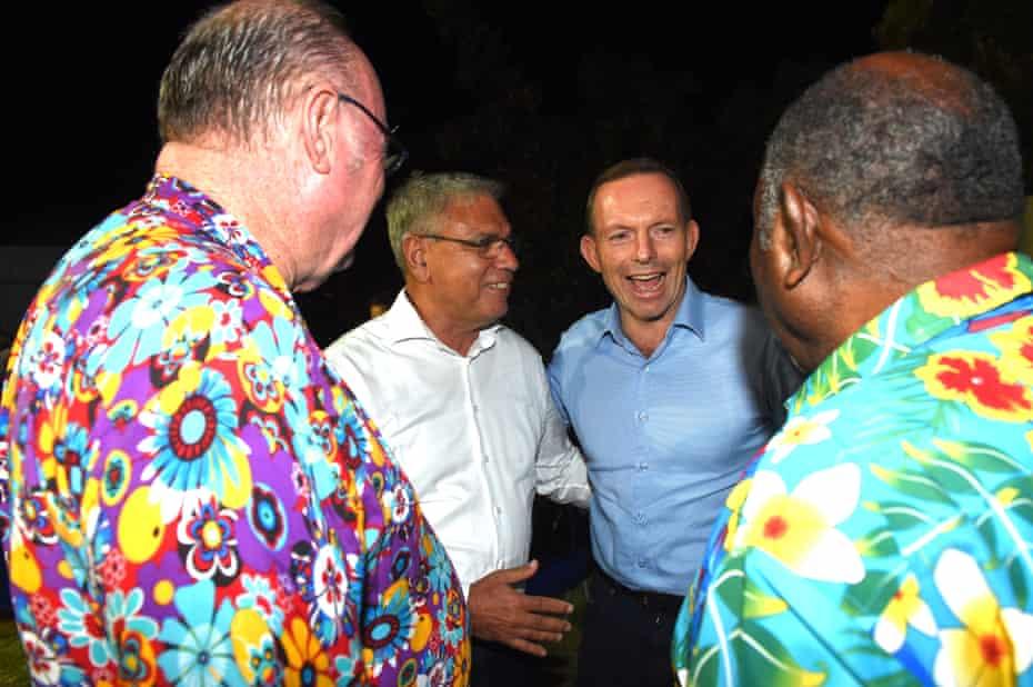 Warren Mundine with Tony Abbott in the Torres Strait in August 2015