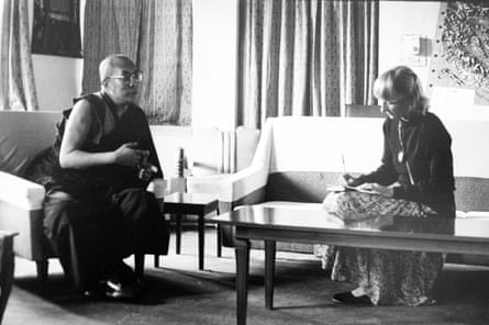 Nancy is photographed by François while interviewing the Dalai Lama in 1981.
