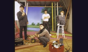 David Byrne with band members Jerry Harrison, Chris Frantz and Tina Weymouth.