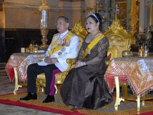 King Bhumipol and Queen Sirikit of Thailand at the Grand Palace to celebrate 60 years on the throne