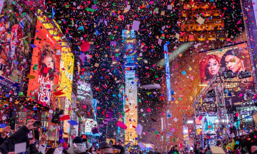 Times Square in New York's celebration welcoming in 2020.