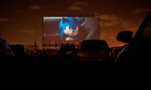 Uruguayans watch a screening of Sonic the Hedgehog at the Carrasco international airport.
