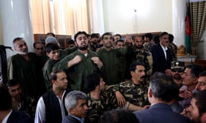 Defendants speak during their trial on charges relating to the mob killing of Farkhunda in Afghanistan's primary court.