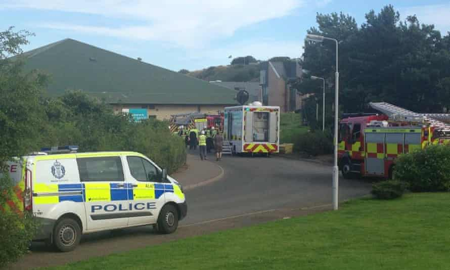 Three fire engines and 15 ambulance service vehicles were called to East Sands leisure centre in St Andrews, Fife.