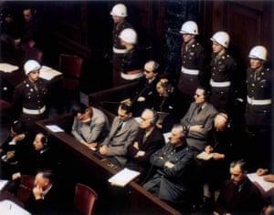 Hermann Goering, Rudolf Hess, Joachim von Ribbentrop, Wilhelm Keitel and Alfred Rosenberg at the Nuremberg trials, 1946