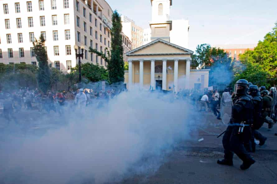 Police deployed tear gas to clear Trump's way to St John's Episcopal Church near the White House.